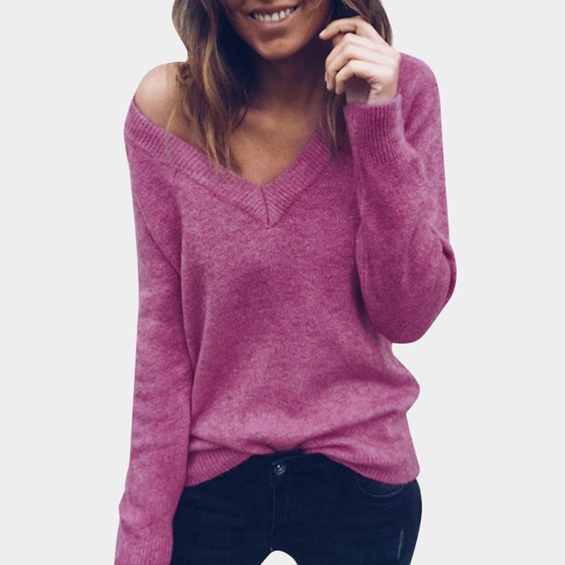 V шеи женщины свитера пуловеры вязаные осень зима одежда твердые основные тонкий пуловер женский свитер Свитер леди