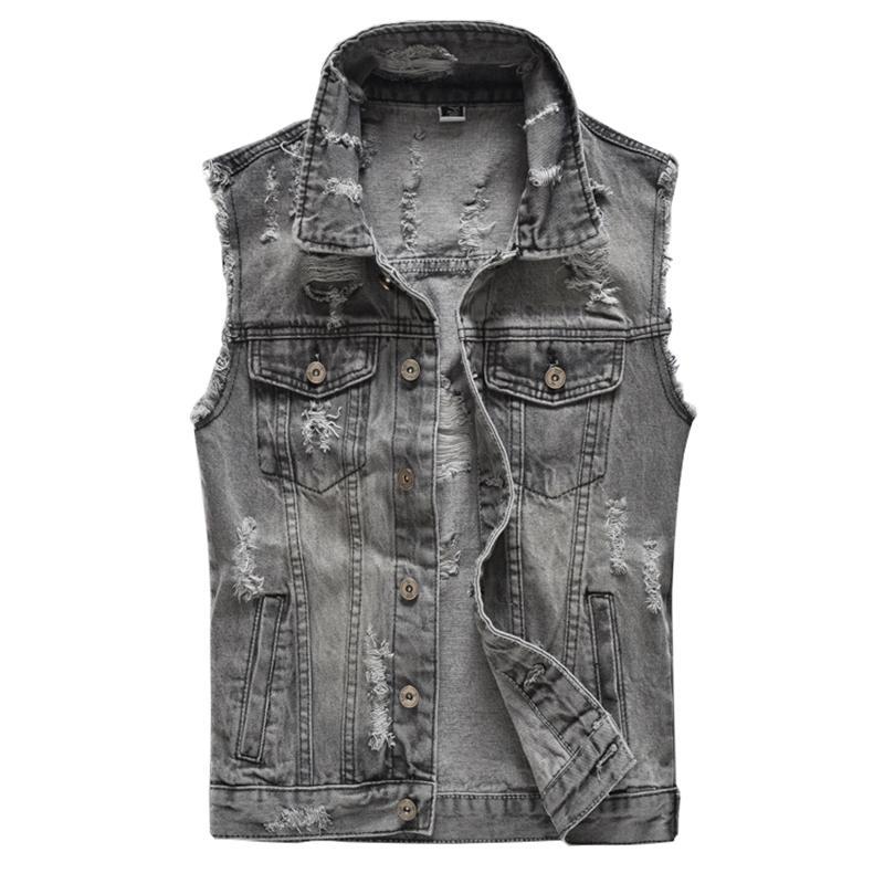 Men's Vests Gray Holes Ripped Jean Vest Slim Sleeveless Fringe Denim Tank Top Fashion Waistcoat