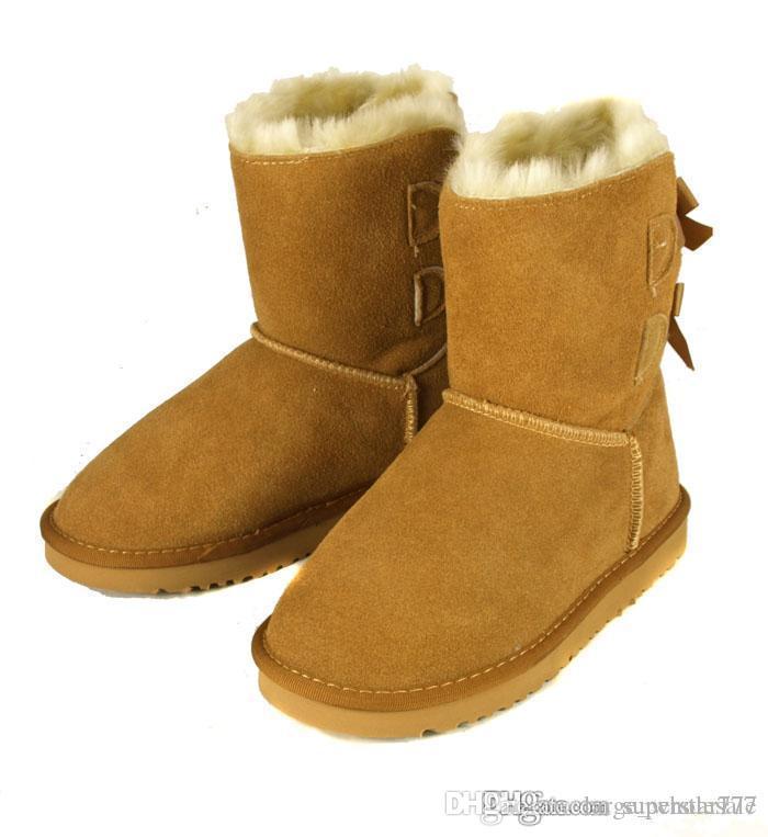 Hot Fashion Australia classique haute bottes d'hiver cuir véritable Bowknot bailey bow bottes de neige chaussures chaussures plates