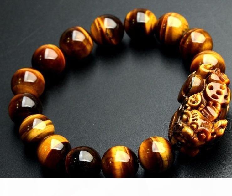 Feng Shui 12mm Yellow Tiger's Eye Stone Pi Yao Pi Xiu Bracelet For Wealth Luck