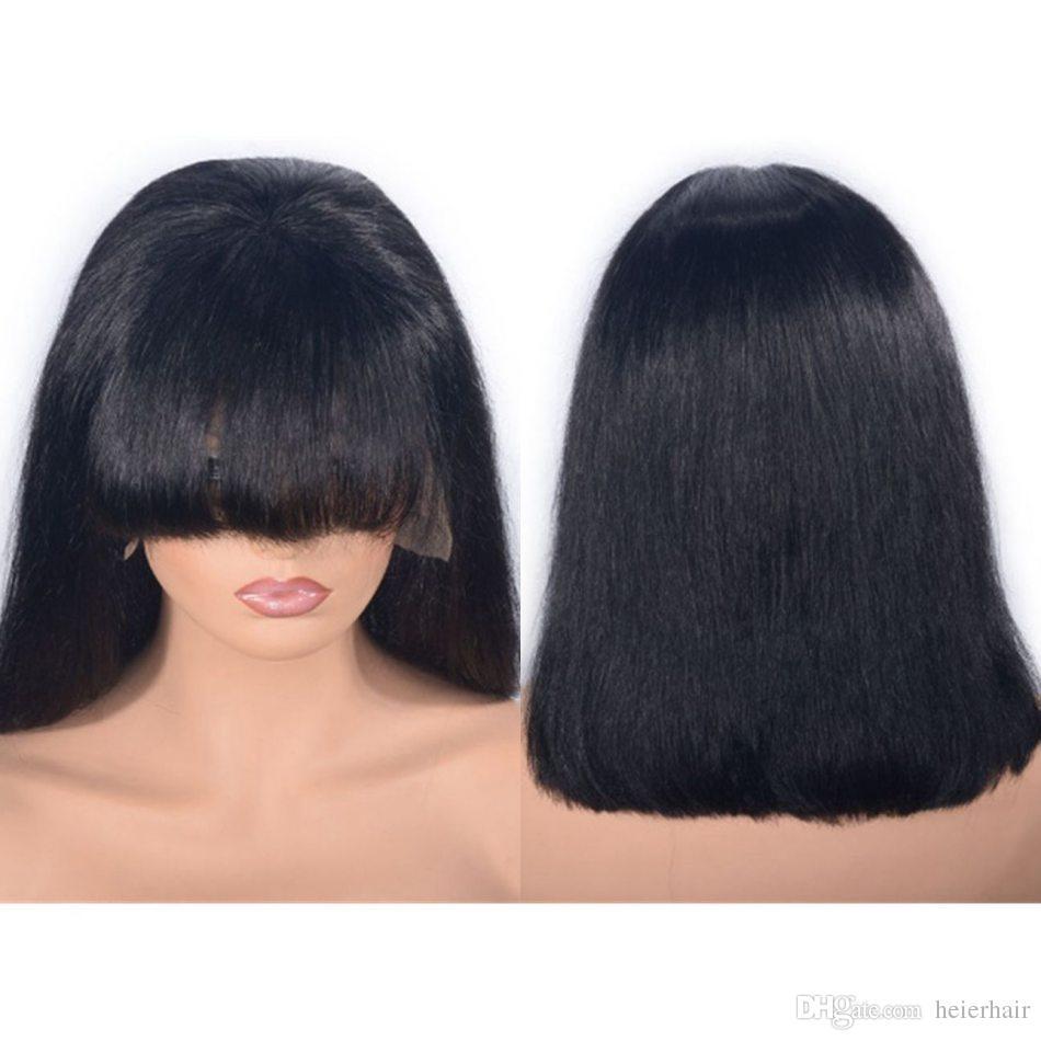 Mongolie avant de dentelle perruque droite perruque de cheveux humains avec une frange de 12 pouces couleur naturelle Bob perruque