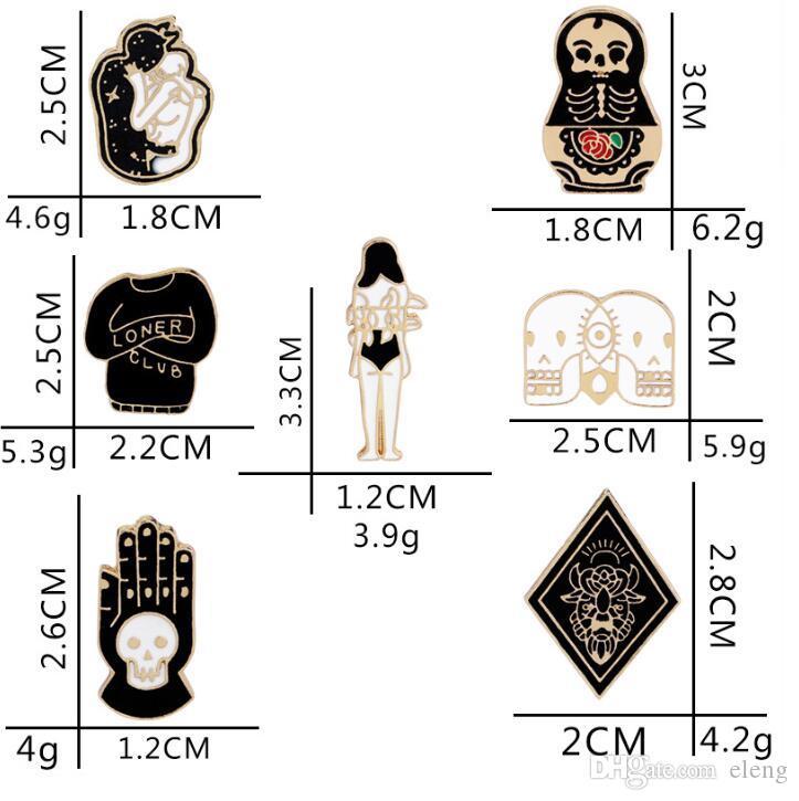 2019 New Vintage Jewelry Evil Hard Enamel Pins Punk Skeleton Skull Palm Totem Introvert Loner Brooch Lapel Pin Button Clothes Bag Badges 176