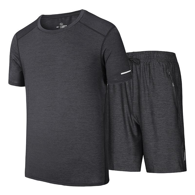 Mens neue Ankunfts-Trainingsanzug Satz-beiläufige Fitness-Studios Fitness-Anzug Männer Sport Anzug O-Hals-T-Shirts und Shorts Übergrößen