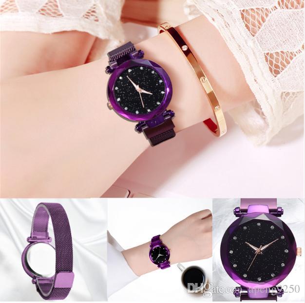 Relojes de lujo para mujer Reloj de cielo estrellado magnético Reloj de pulsera de cuarzo femenino con diamantes de moda