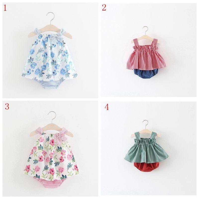 Summer Wear New Girl listras gravata Vestido Borboleta Imprimir Baby Girl vestido Vest + Calças Curtas doces vestido estilo Outfits
