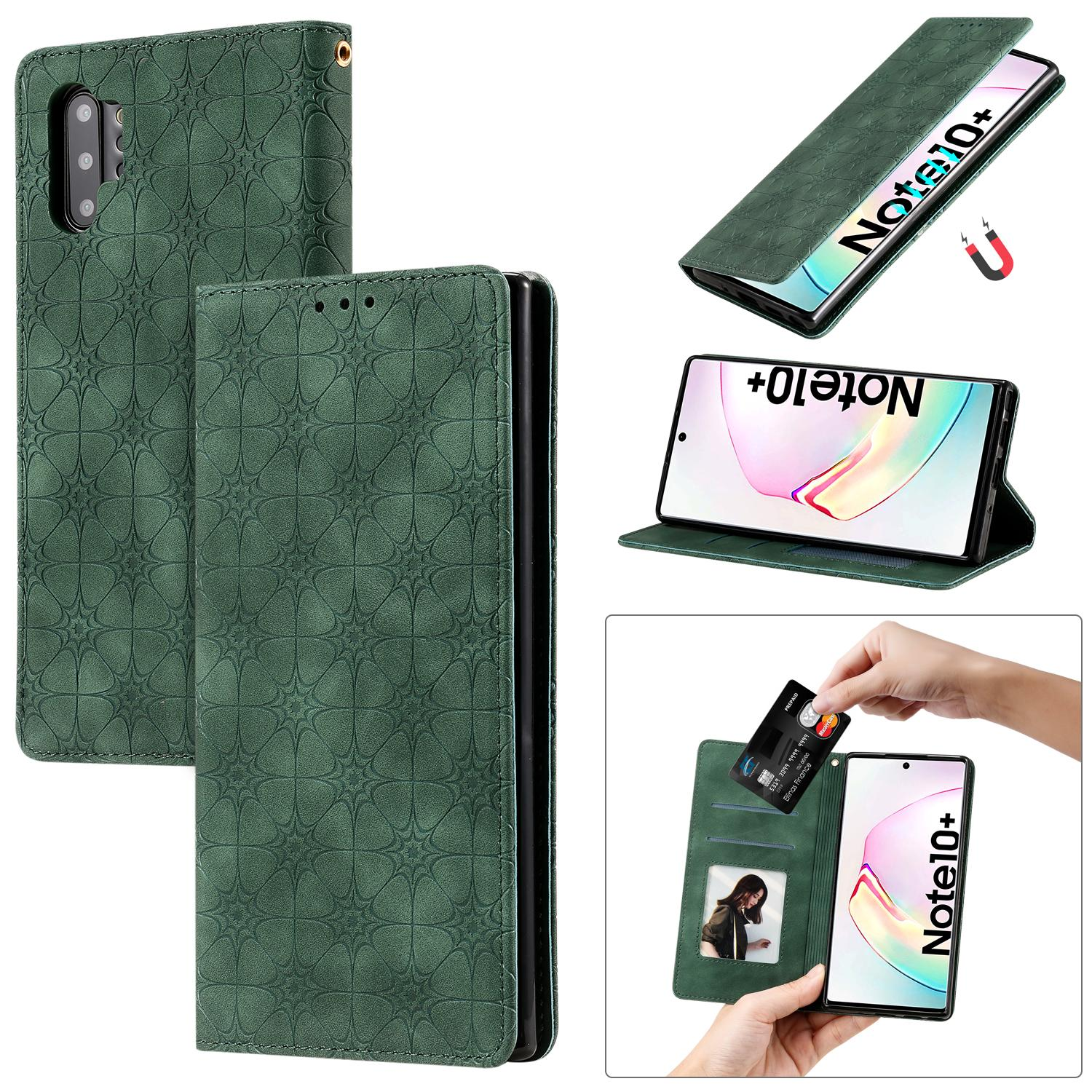 For Samsung Galaxy Note 10 Pro/Note 10 Pro 5G/Note 10 Plus Case Flip Cover Stand Wallet PU Leather Embossed lucky flower