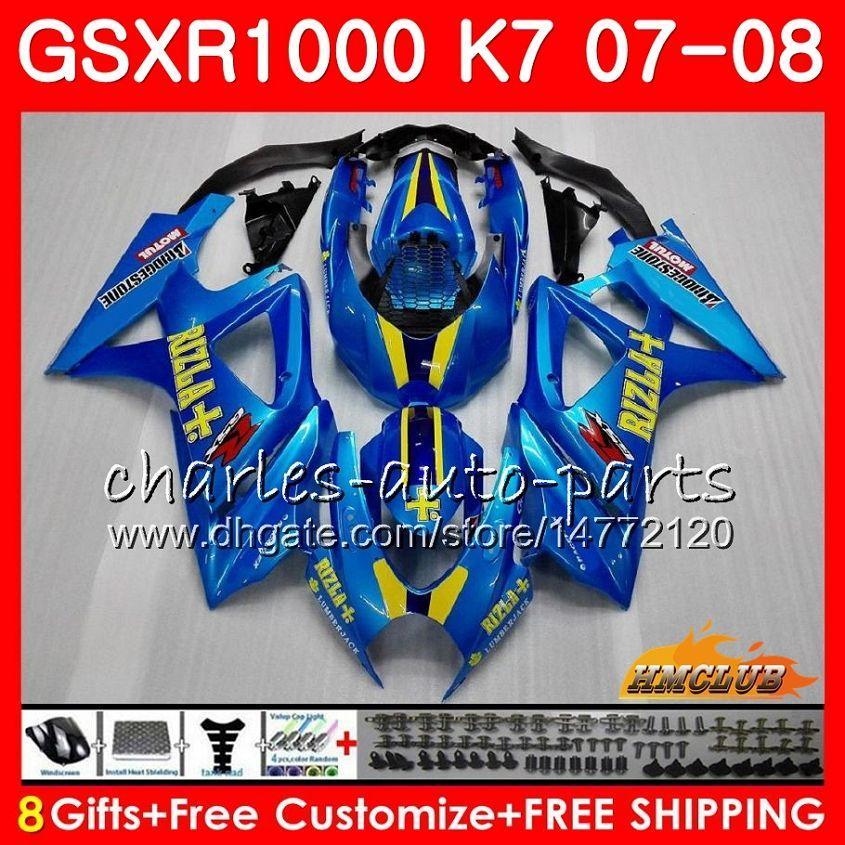 Nadwozie dla Suzuki Factory Blue Hot GSXRR-1000 GSXR1000 2007 2007 07 08 Bodys 12HC.7 GSX R1000 GSX-R1000 K7 GSXR 1000 07 08 ABS Fairing Ki