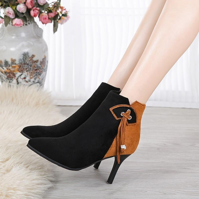 Autumn Winter New Ankle Boots Women Fashion Fringe High Heels Ladies Shoes Sexy Pointed Toe Pumps Black Plus Size Botas Mujer