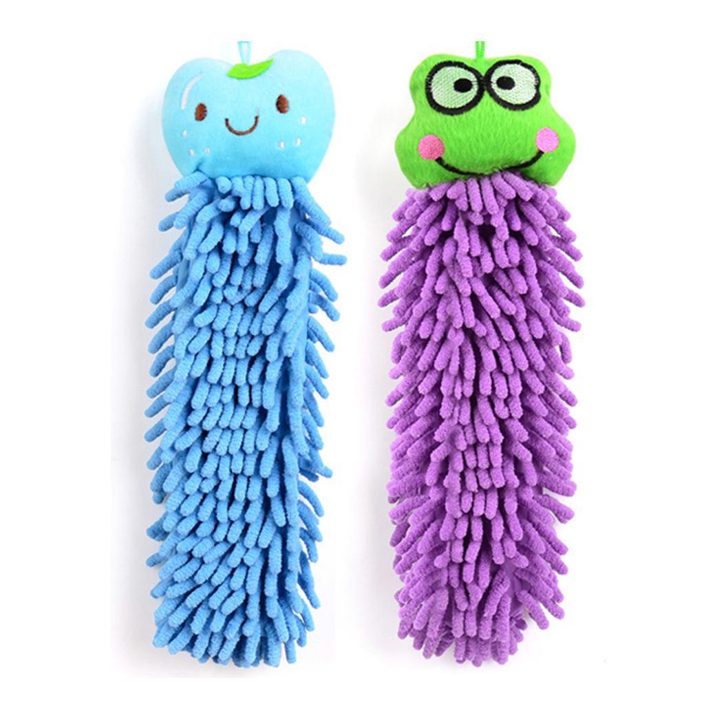 30CM Kitchen Hanging Towels Chenille Hand Face Wipe Towel Baby Kids Animal Bathroom Washcloths Handkerchief Random Color