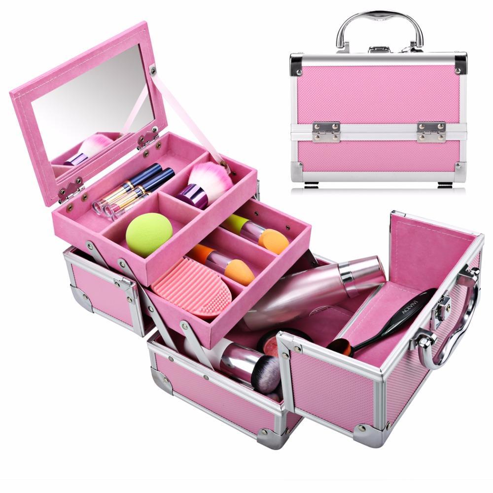 FANALA 3Tier caja de maquillaje plegable extensible de aluminio del maquillaje organizador de cepillo cosmético del organizador del sostenedor de la caja de joyería