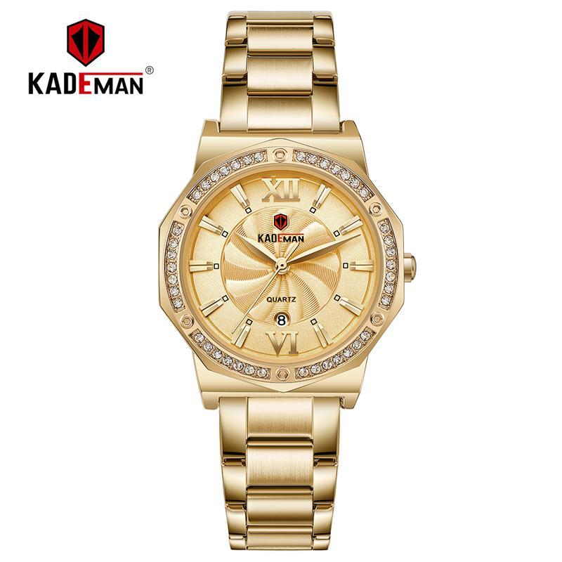 829 Kademan Ladies Relógios de cristal diamantes moda para as mulheres Calendário Quartz completa Aço Relógio de pulso presente Waterproof