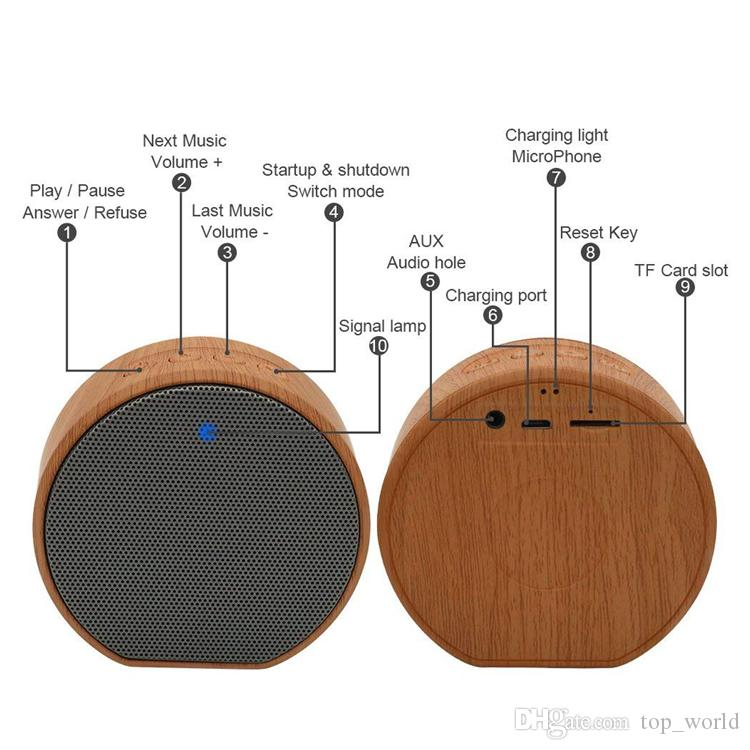 A60 Wood Grain Portable Bluetooth Speaker Box For Telefono MP3 Player PC Laptop Notebook USB 3.5mm Jack AUX Output TF Card