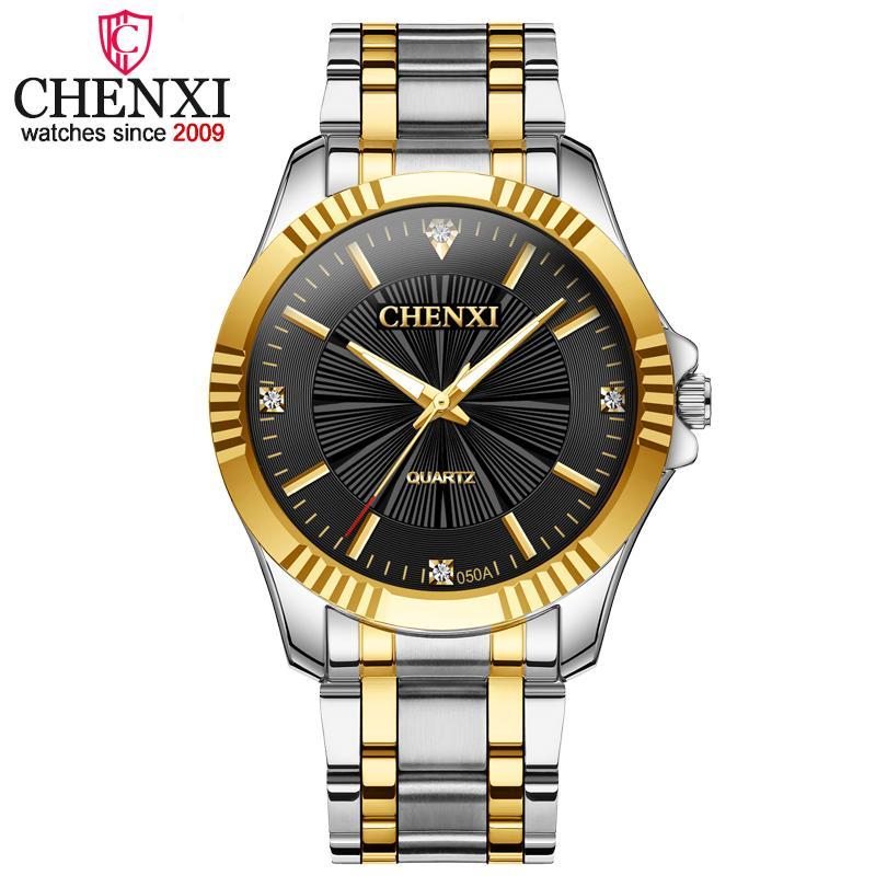 El acero lleno CHENXI reloj de los hombres de primeras marcas de moda de lujo de negocios de cuarzo Relojes de los hombres a prueba de agua reloj de oro Relogio Masculino