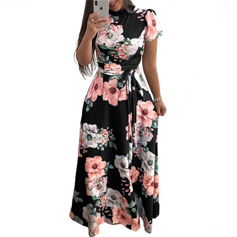 BNC 여성 여름 드레스 2019 캐주얼 짧은 소매 긴 드레스 Boho 꽃 무늬 인쇄 맥시 드레스 Turtleneck 붕대 우아한 드레스 Vestido