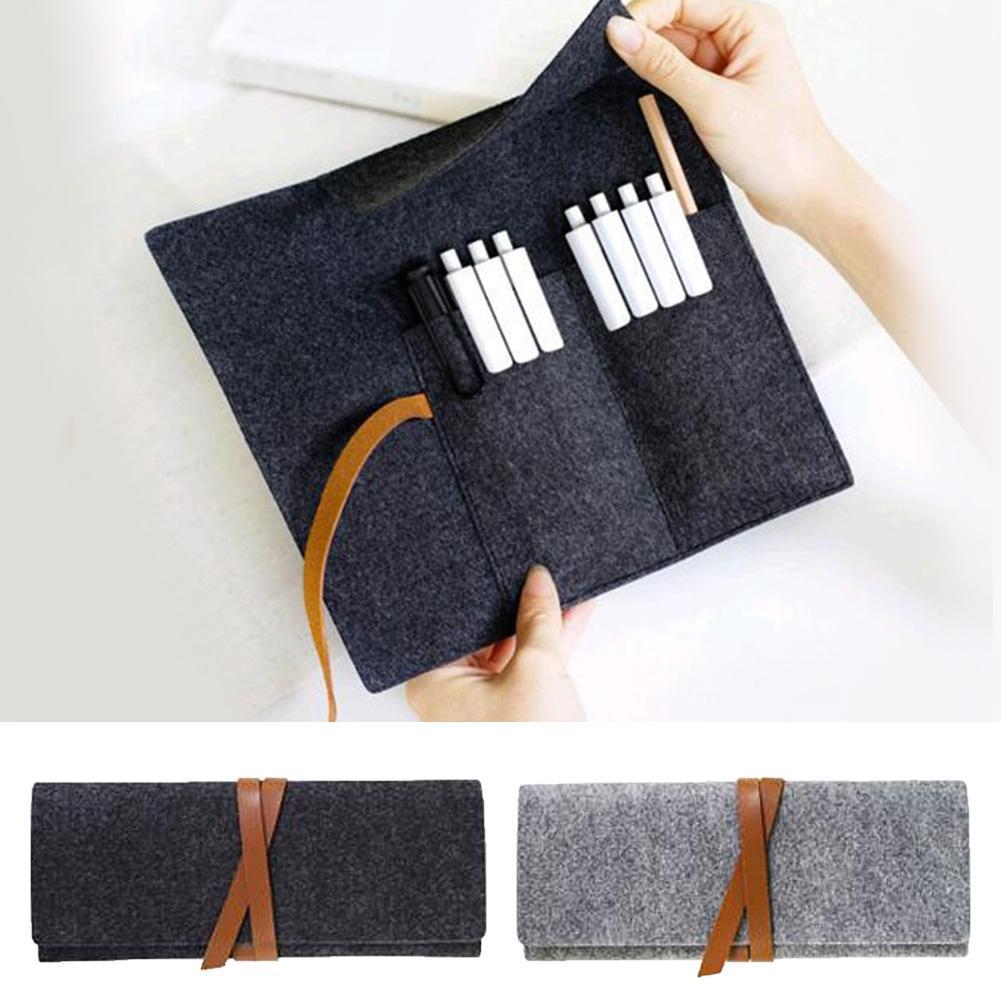 미니멀 회색 패브릭 화장품 가방 연필 케이스 학교는 학생 문구 메이크업 케이스를 공급 연필 가방 펠트