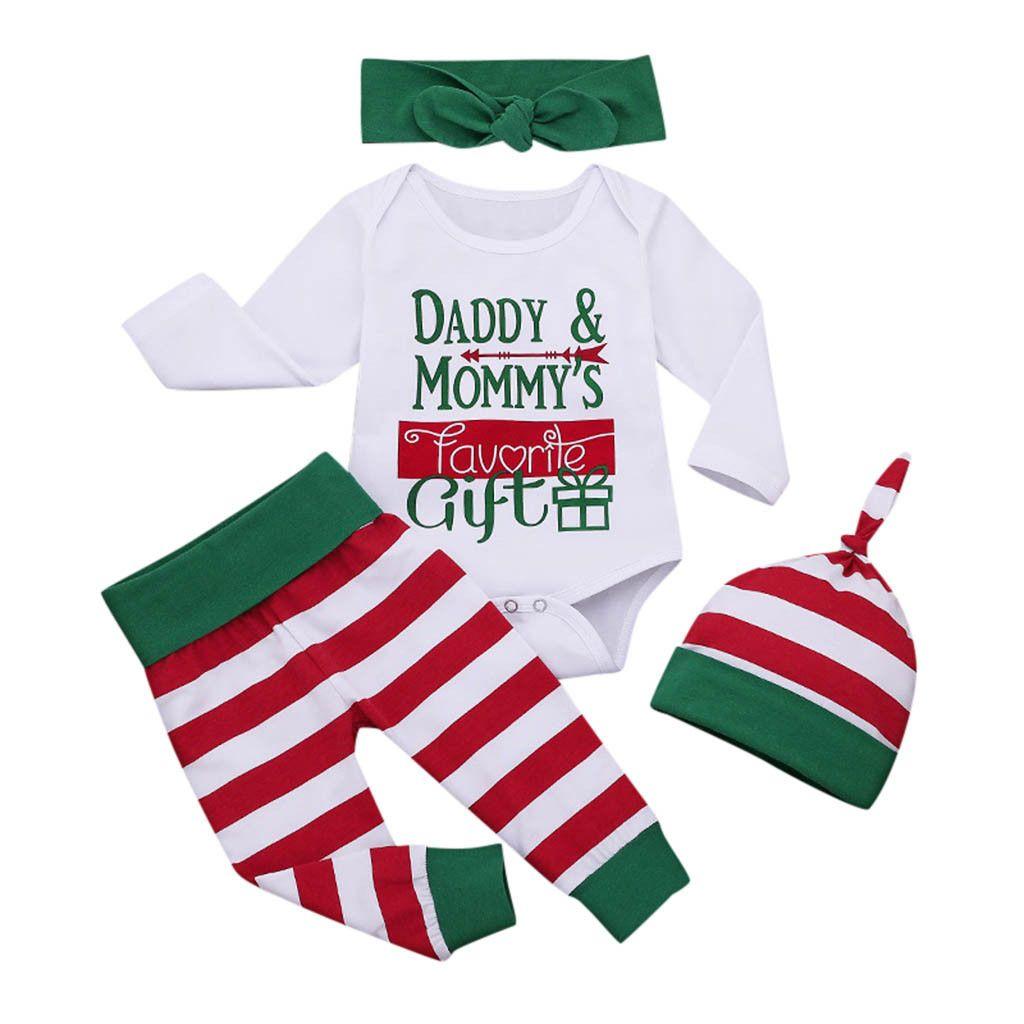 Новорожденный младенец Детские Для девочек Для мальчиков Рождество Письмо Bodysuit нашивки Pant Эпикировка Set