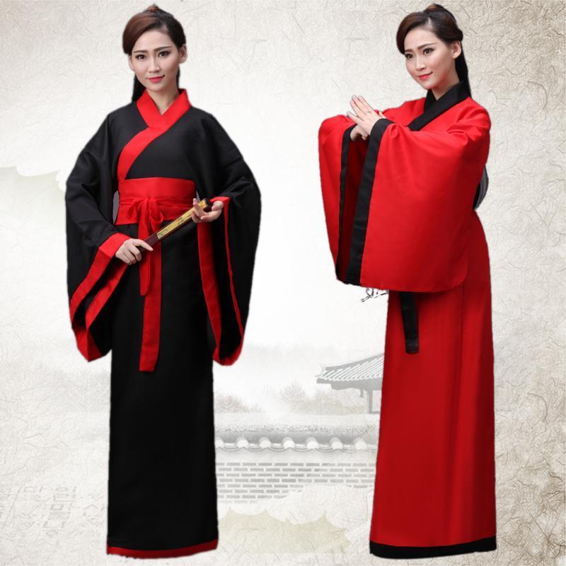 Hanfu женская национальная одежда древнекитайской Женский костюм Черный Красный Lady Китайский этап платье