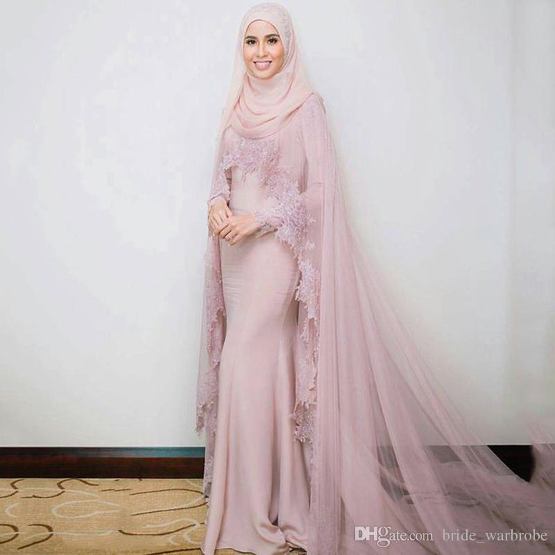 Muslim Evening Dresses high neck 2019 Mermaid Long Sleeves Appliques Lace Formal Scarf Islamic Dubai Kaftan Saudi Arabic Long Evening Gown