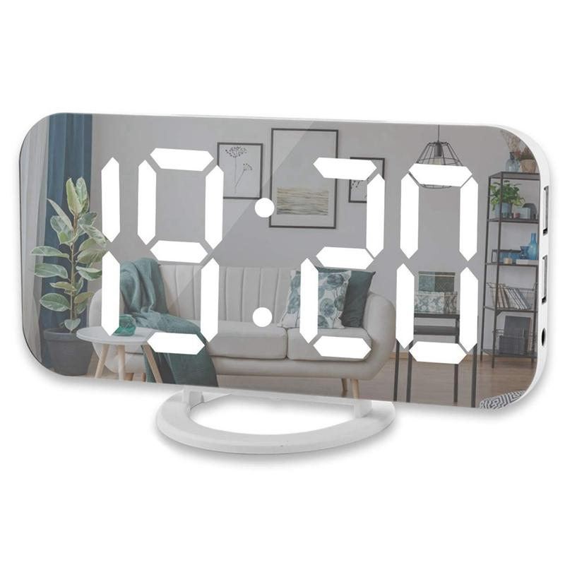 heap Alarm Clocks Digital Alarm Clock,6 Inch Large Led Display With Dual Usb Charger Ports Auto Dimmer Mode Easy Snooze Function, Modern ...