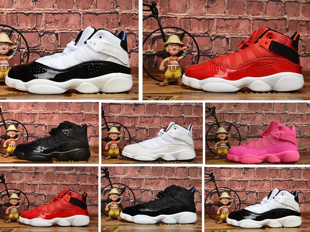 HOT 6 Rings Kids basketball shoes sports shoes Children sneakers Gym Red Chicago Midnight Navy Boy Girls six rings Athletic shoes 11C-3Y