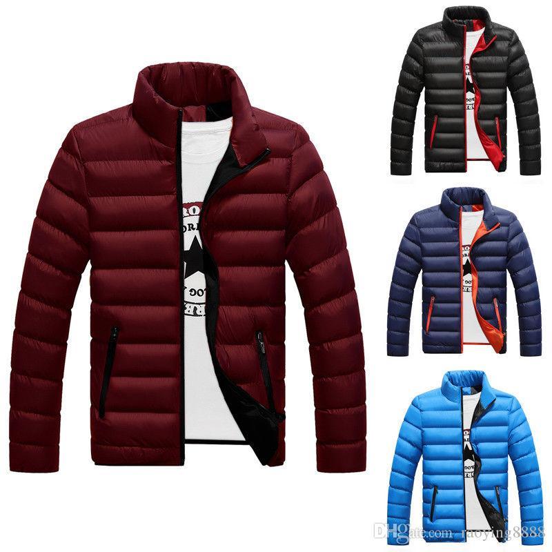 Men Winter Warm Coat Stand Collar Light Outerwear Jacket Casual Overcoat Parka