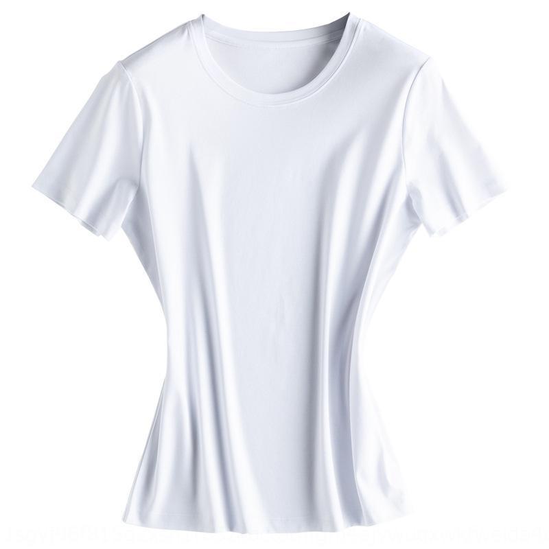aerzr nuevo sentido actualizar fresco no planchar el 6% de los niños de seda de morera máscara camiseta de algodón mercerizado Máscara de algodón mercerizado redonda pare el cuello