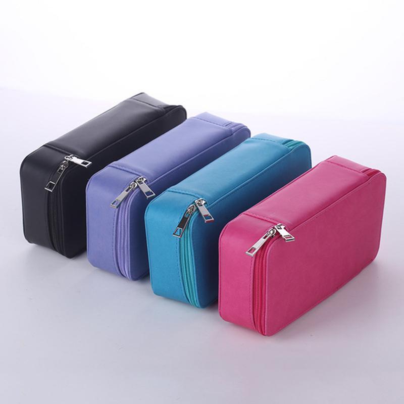 Пенал площади Кожа PU сплошного цвета школы Многофункциональный эскизе Pen Bag Art Supplies Stationery Карандаш сумка Box