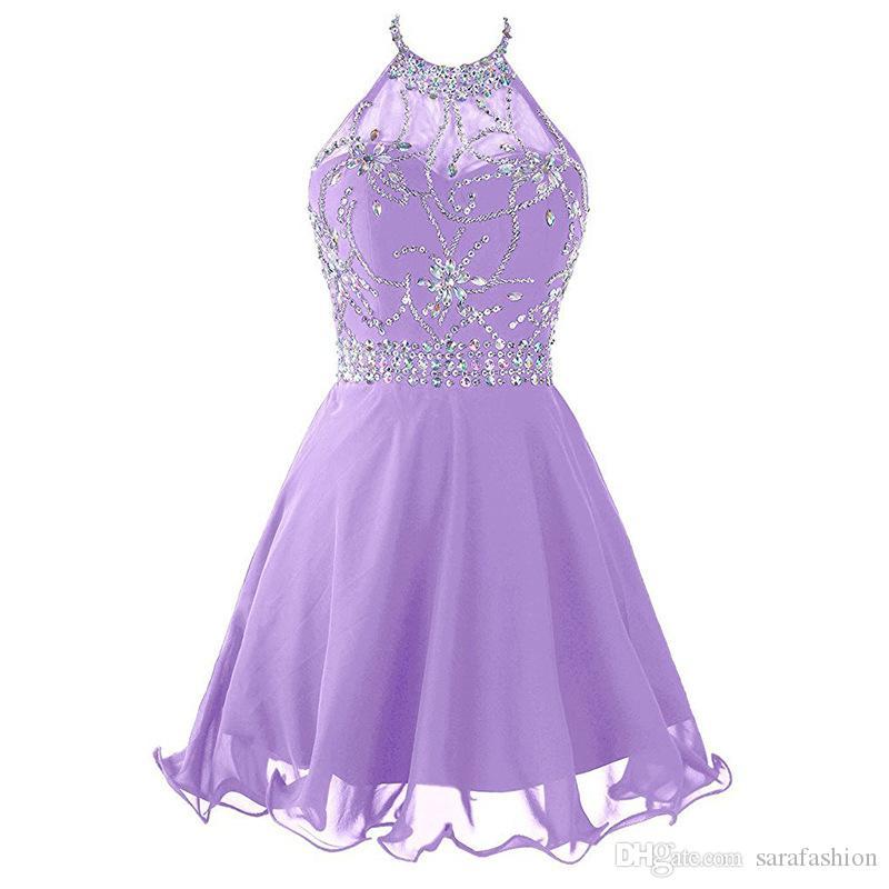 Frisada de cristal chiffon vestidos de baile com decote halter 2019 curto vestidos de baile sem encosto vestido de festa lavanda azul royal marinha