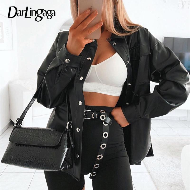 Darlingaga уличная Черная искусственная кожа блузка женщины кардиган кнопки мода женская рубашка топ с длинным рукавом твердые кожаные блузки Y200402