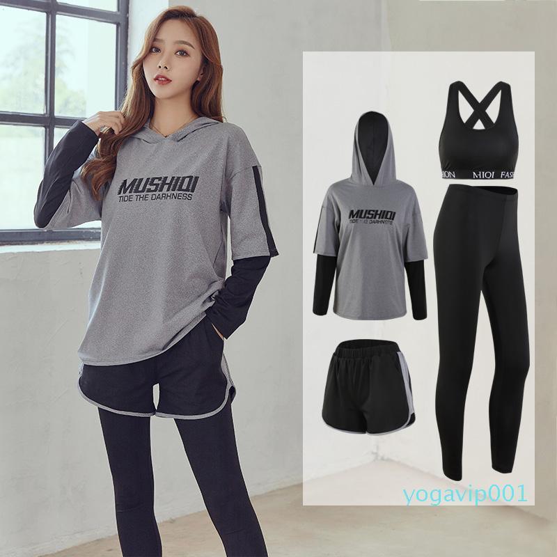 4 adet Gym Giyim Kadınlar Nefes Yoga Seti Kapüşonlular + Spor Bra + Spor Tozluklar Sport Kadınlar Uzun Kollu Eşofman Aktif Giyim