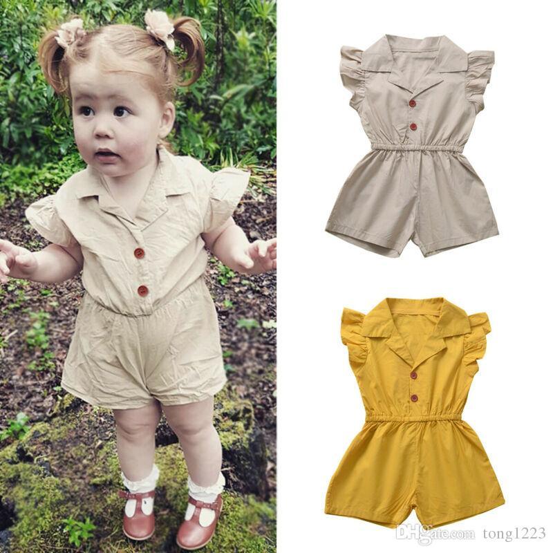 2020 nuovi calda del bambino Bambini vestiti neonate Ruffle pagliaccetto Pantaloncini puro cotone tuta Outfit generale di estate Tuta 0-4Y