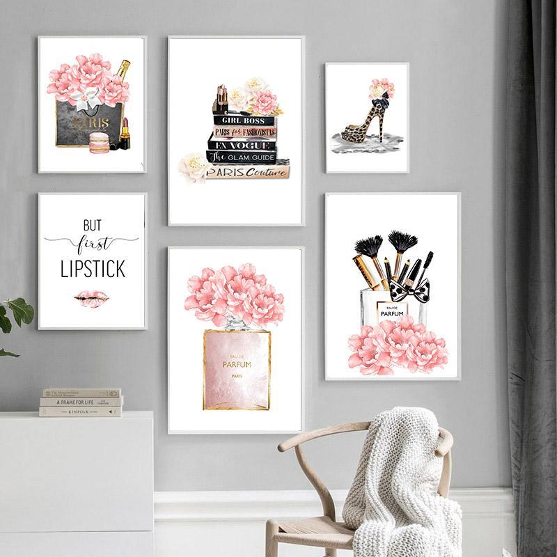 Maquillaje de la manera impresión del cartel del perfume bolsa de leopardo de moda los zapatos de lona Pintura ilustraciones imagen de belleza Salon niñas Decoración