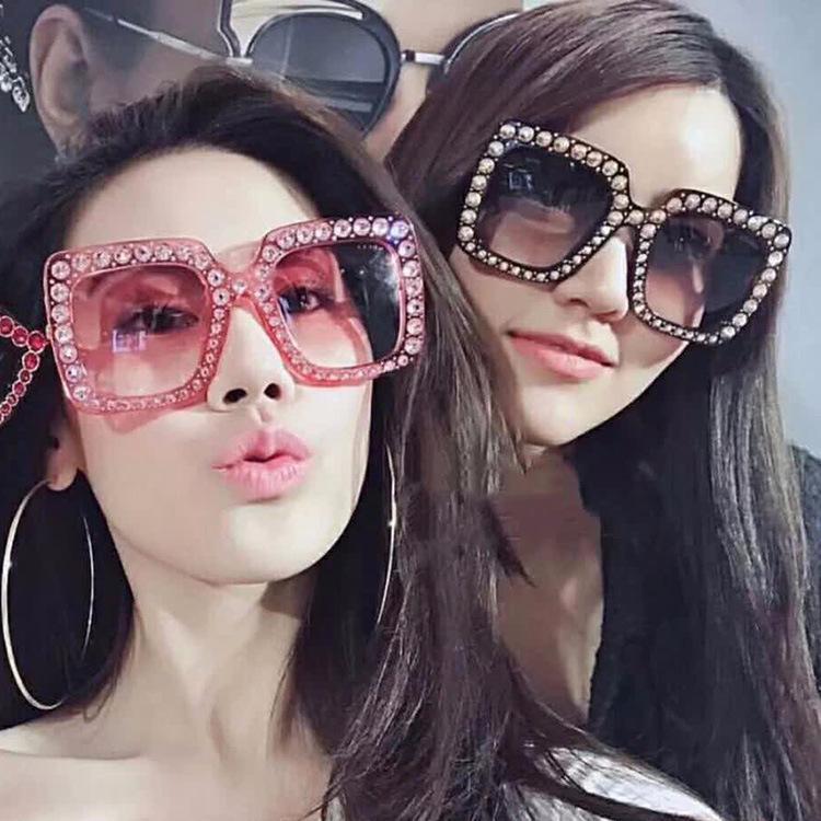 Tasarımcı Güneş Lüks Kadınlar güneş gözlüğü tonları göz gözlük Büyük Boy Kare Kare Bling Sunglass Moda Aksesuarları gözlük