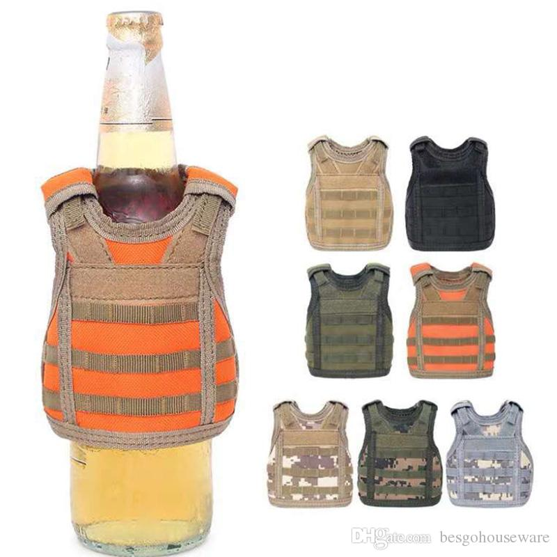 Beverage Koozie Vest Military Molle Mini Beer Cover Vest Cooler Sleeve Adjustable Shoulder Straps Beer Cover Bar Party Decoration BH1990 ZX