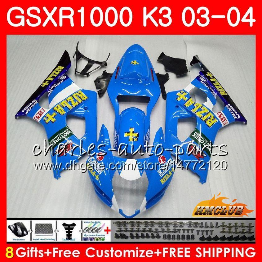 Rama dla SUZUKI GSX-R1000 GSXR 1000 GSXR1000 03 04 Body 15HC.39 Przewody nadwozia GSX R1000 K3 Nowa Rizla Blue GSXR-1000 03 04 2003 2004 Łamyki