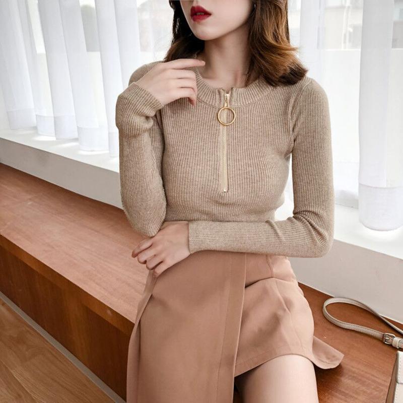 Fashion-Maglione donne O-Collo bianco Maglia maniche completa Top elastico solido morbido femminile Moda Pullover maglia da donna Maglioni