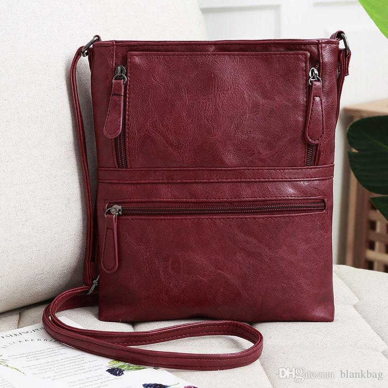 Vintage de haute qualité sacs à rabat femmes épaule solide de mode Sac bandoulière en cuir brun Sacs à main Zipper Messenger Bag Casual ordinaire