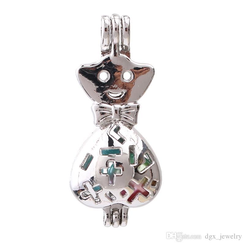 Argent Creative Bébé Chat Perle Cage Aromathérapie Huile Essentielle Diffuseur Bead Lockets Pendentifs pour La Fabrication de Collier de Parfum