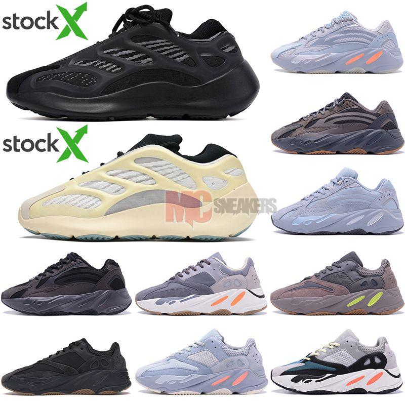 Descuento 700V3 Azael tono blanco para hombre Kanye West carbono luminoso 700 V3 running Deportes Con las zapatillas de deporte Tamaño de la caja 36-47