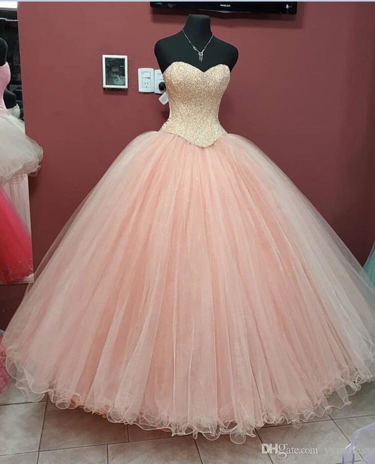 2019 Rosa Quinceanera Dresses Querida Comprimento Pavimento Neck Wear Birthday Party vestidos de baile renda acima para trás