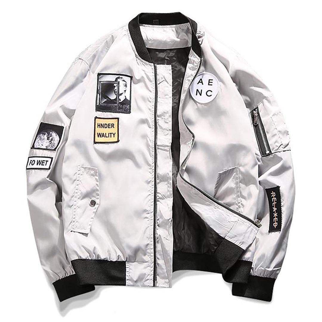 Мода повседневная стройная мужская бомбардировщик куртка мужской бейсбол ветровая пальто нас размер S-XL