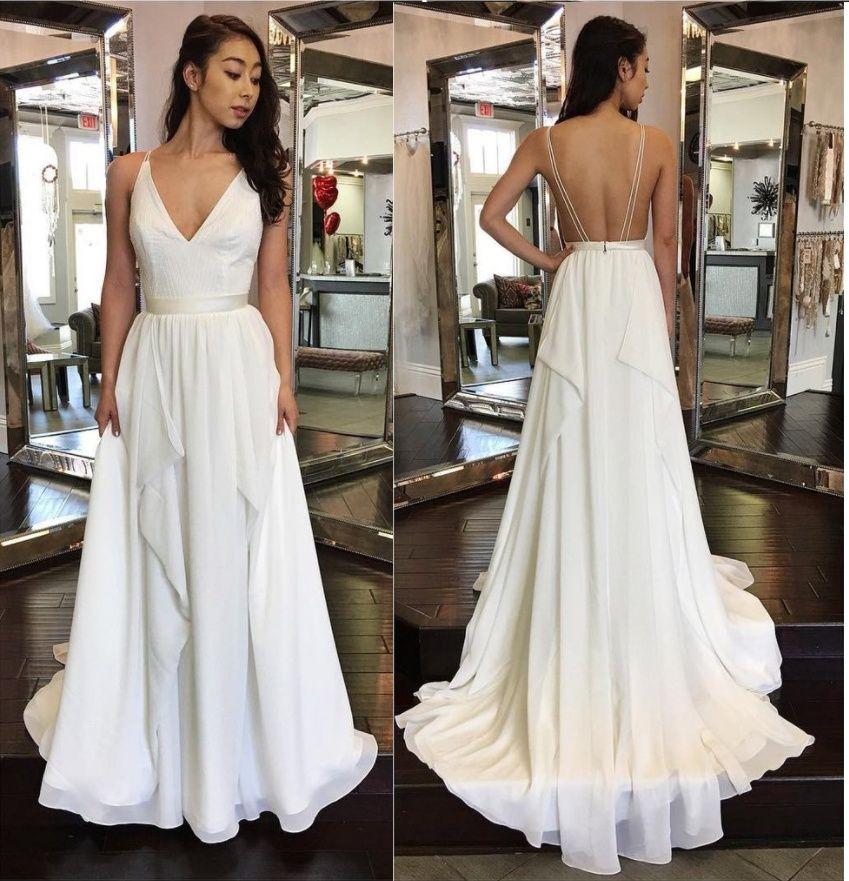 Sexy Backless v-neck chiffon long dress,Formal White Dress,Party Dress CG01