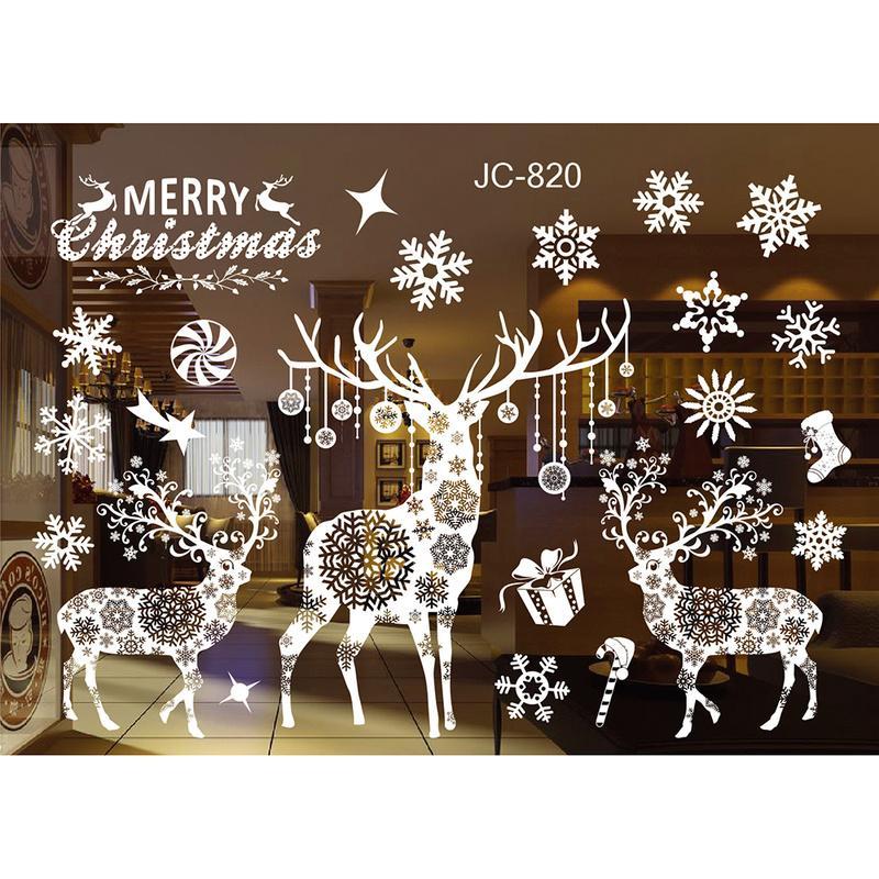 Nouvel An de fenêtre en verre PVC Wall Sticker Noël bricolage Snow City Accueil Stickers muraux Decal Décoration de Noël pour les fournitures Accueil
