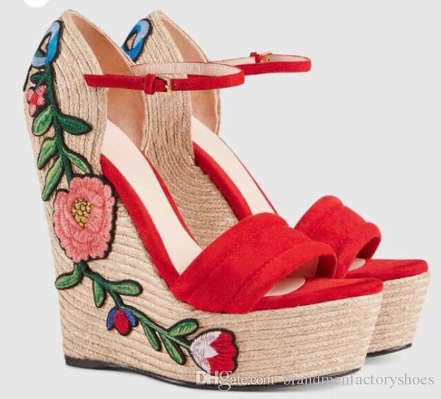 New Wedges Kid Suede Woman Sandals Butterfly knot Flower Red Platform Summer Fashion Flats Shoes Woman Top Quality