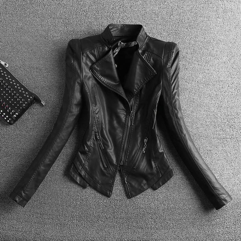 2020 Yeni Moda Siyah Motosiklet Deri Ceket Kadınlar Fermuarlar Biker Deri Ceket Plus Size S-4XL İnce Kadın ceketler giyim
