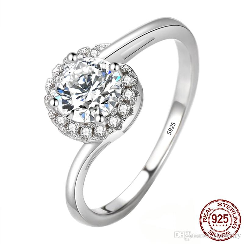 Original 925 Sterling Silver Engagement Ring Jewelry for Women CZ Diamond Christmas Gifts Classic Trendy Design Finger XR422