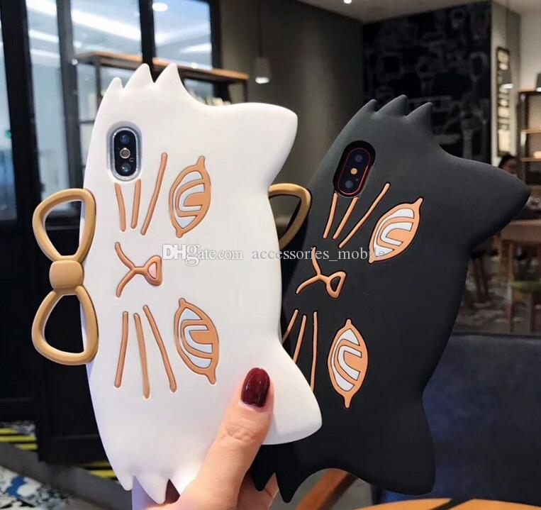 11 ePacket Butterfly-knotted Large-Faced Cat Cell Shell iphone 6 6s 6p 6sp7 8 7p 8p x xr xs max Finger Ring Cat Silicone Sheath