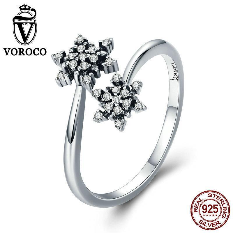 Voroco 925 Sterling Silver Fox Ring Charm Zircon Women Necklace Bracelet Jewelry