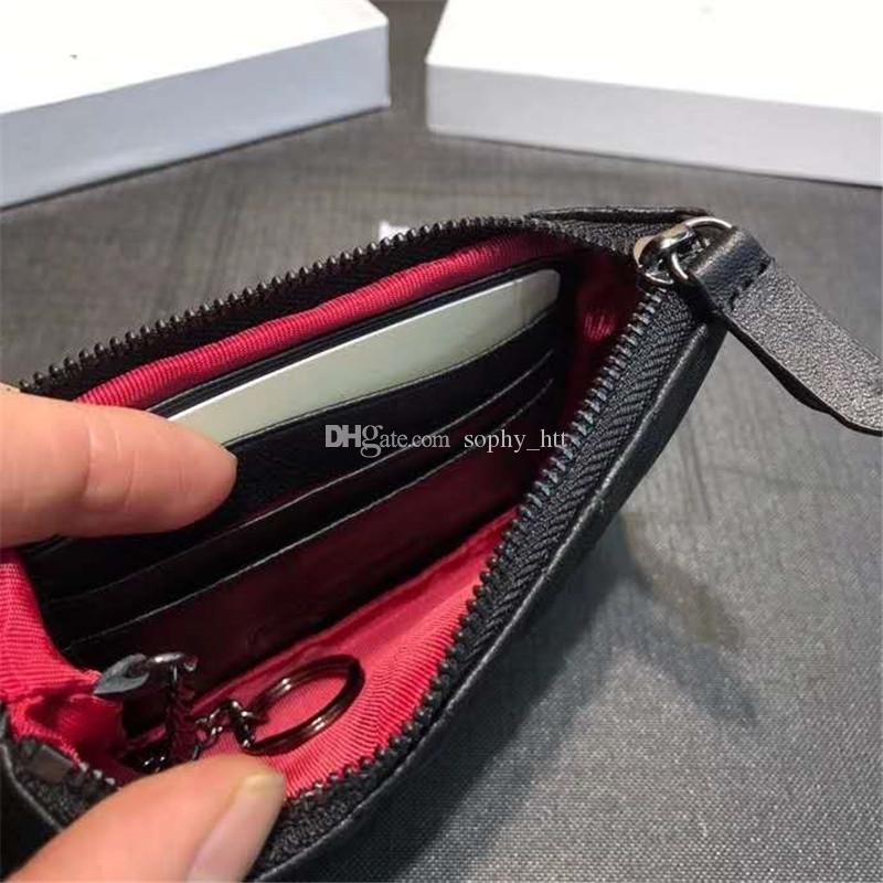 Münze Geldbörse Wallet Key Pouch Designer Brieftaschen Designer Lippenstift Tasche Geldbörsen Kartenhalter mit Kasten Staubbeutel Top Qualität Kaviar Lammkin 14cm