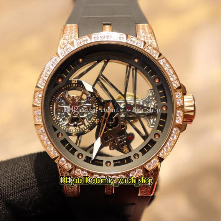 Top Qualidade Excalibur 42 RDDBEX0404 Skeleton Dial Mecânico mão-liquidação Mens Watch Rose Gold Diamond Caso Pulseira De Borracha Preta Esporte Relógios